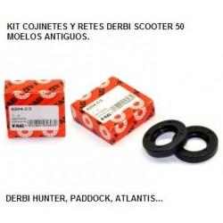 Kit cojinetes y retenes cigueñal Derbi Hunter, Paddock, Predator...